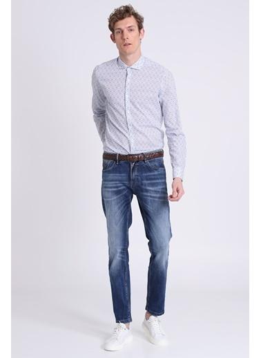 Lufian Desenli Uzun Kollu Gömlek Mavi